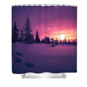 Winter Lanscape With Sunset, Trees And Cliffs Over The Snow. Shower Curtain