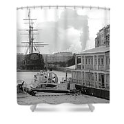 Winter On The River Shower Curtain
