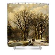 Winter Scene In Reichswald Shower Curtain