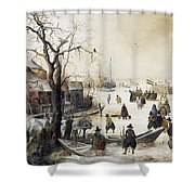 Winter Scene On A Canal Shower Curtain