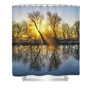 Winter Sunrise Over The Ouse Shower Curtain
