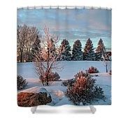 Winter Sunset In Weyburn Shower Curtain