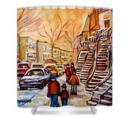 Winter Walk In Montreal Shower Curtain