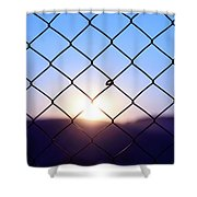 Wire Mesh Fence On A Sunset Background Shower Curtain