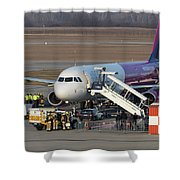 Wizz Air Jet And Fire Brigade   Shower Curtain