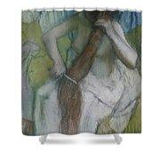 Woman Combing Her Hair Shower Curtain by Edgar Degas