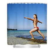 Woman Doing Yoga Shower Curtain by Kicka Witte - Printscapes