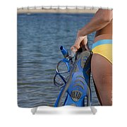 Woman Getting Ready To Go Snorkeling Shower Curtain