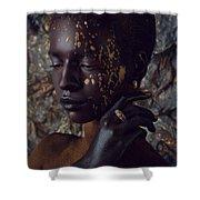 Woman In Splattered Golden Facial Paint Shower Curtain
