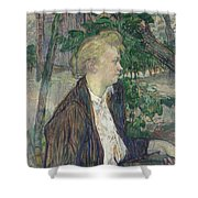 Woman Seated In A Garden Shower Curtain