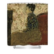 Woman Sitting By The Fireside Shower Curtain