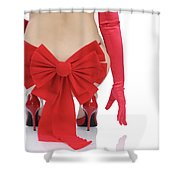Woman With A Christmas Bow Shower Curtain