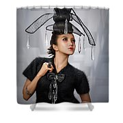 Woman With Chandelier Headdress Shower Curtain