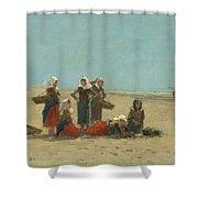 Women On The Beach At Berck Shower Curtain