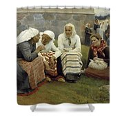 Women Outside The Church At Ruokolahti Shower Curtain