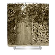 Wood Gate In A Wall Of Stones Shower Curtain