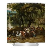 Wooded Landscape With Robbers Shower Curtain