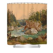 Wooded River Landscape In The Alps Shower Curtain