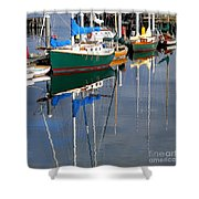 Wooden Ships On The Water Shower Curtain
