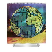 World Displayed Shower Curtain