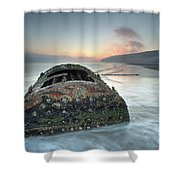 Wreck Of Laura - Filey Bay - North Yorkshire Shower Curtain
