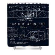 Wright Bros Flyer Aeroplane Blueprint  1903 Shower Curtain