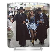 Wyatt Earp  Doc Holiday Escort  Woman  With O.k. Corral In  Background 2004 Shower Curtain