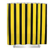 Yellow And Black Stripes Shower Curtain