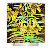 Yellow Lilies, Hand Drawn Painting Shower Curtain