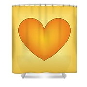 Yellow Love Heart 3 Shower Curtain