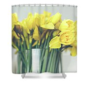 Yellow Narcissuses Bouquet In A Glass Vase Shower Curtain