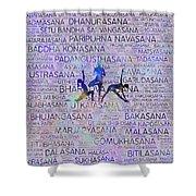 Yoga Asanas / Poses Sanskrit Word Art  Shower Curtain