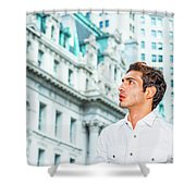 Young American Businessman Looking For Success. Shower Curtain