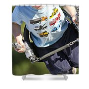 Young Boy Smiling Swinging In A Swing Shower Curtain