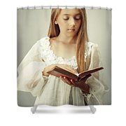 Young Girl Reading A Book Shower Curtain