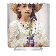 Young Girl With Lavender Shower Curtain
