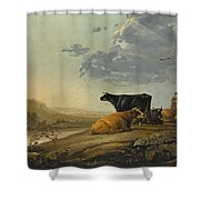 Young Herdsmen With Cows Shower Curtain