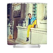 Young Man Relaxing On Street Shower Curtain
