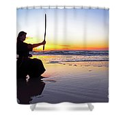 Young Samurai Women With Japanese Katana Sword At Sunset On The Beach Shower Curtain