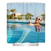 Young Woman Enjoying Warm Water In Pool Shower Curtain