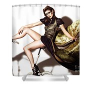 Young Woman In Long Dress On Exercise Bike Shower Curtain