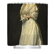 Young Woman In White Shower Curtain