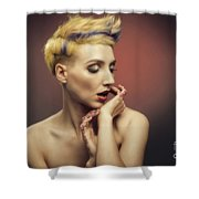 Young Woman With Glittered Fingers And Lips Shower Curtain