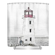 You're My Beacon Peggy's Cove Lighthouse Shower Curtain