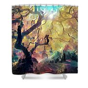 10 Abstract Japanese Maple Tree Shower Curtain