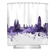 Barcelona Spain Skyline Shower Curtain