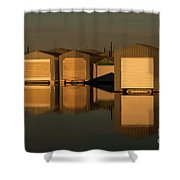 Boathouse Reflections  Shower Curtain