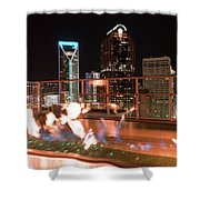 Charlotte North Carolina Skyline View At Night From Roof Top Res Shower Curtain
