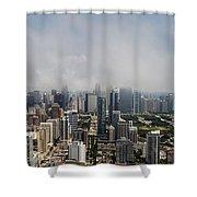 Chicago Skyline Aerial Photo Shower Curtain