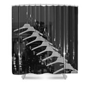 10 Hangers In Black And White Shower Curtain